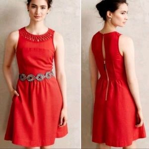 Anthropologie Maeve Red Fit & Flare Dress